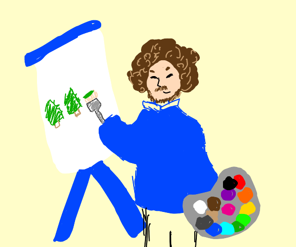 bob ross painting happy little trees