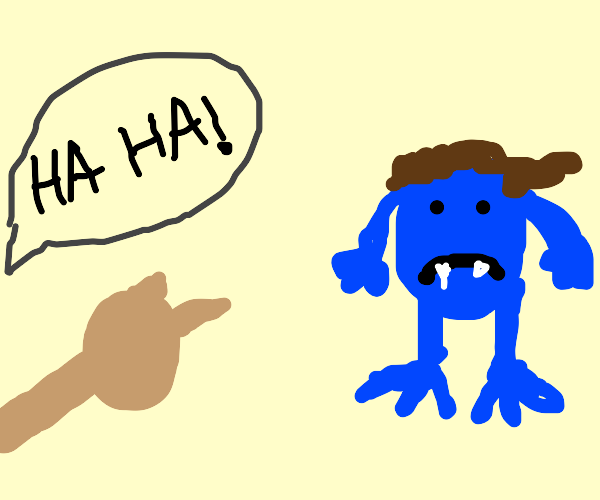 somomeone making fun of sad blue troll face
