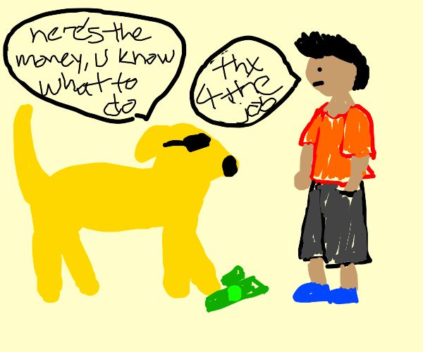Cool yellow dog (Not Jake the dog) hires man