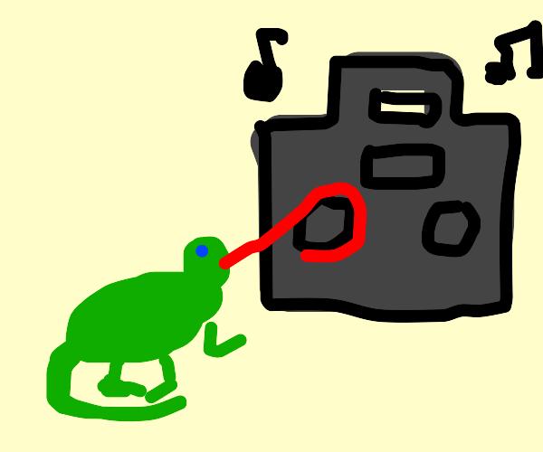 A lizard adjusting a radio dial