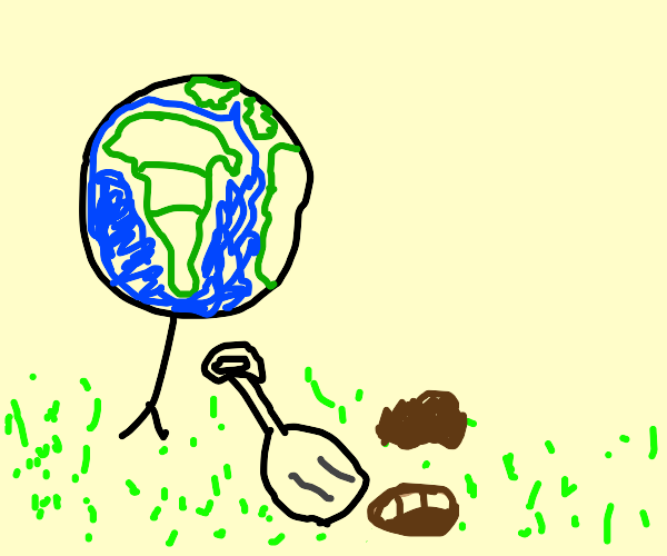 A Planet digging into a Lawn