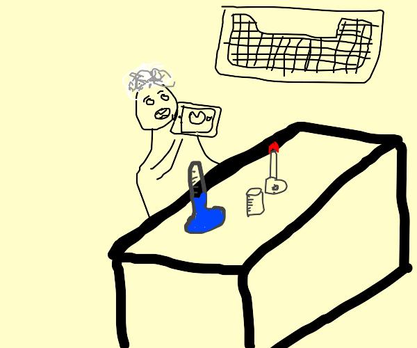 Chemist eating an iPod