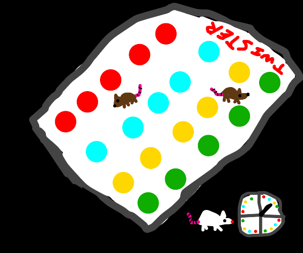 rat on circles/rectangle of different colors