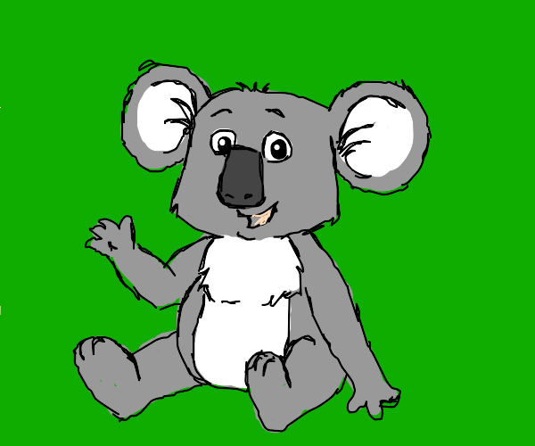 Friendly koala waving hello