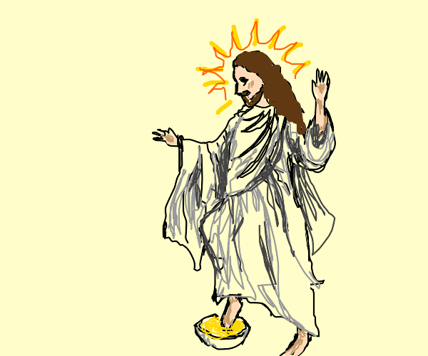 jesus puts his feet in cereal
