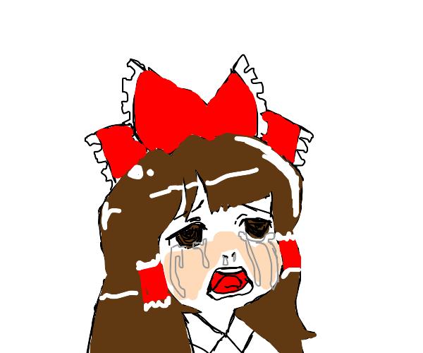 reimu hakurei crying