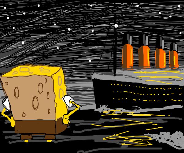 Giant Spongebob sinking the Titanic
