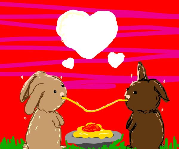 Bunnies eat spaghetti