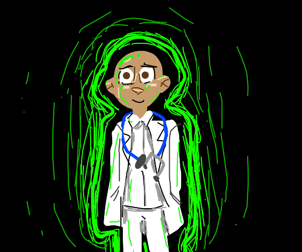 a surgeon/doctor putting on a neon green glov