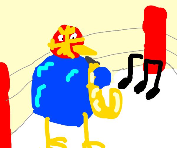 Fat Luchadore Bird plays saxophone