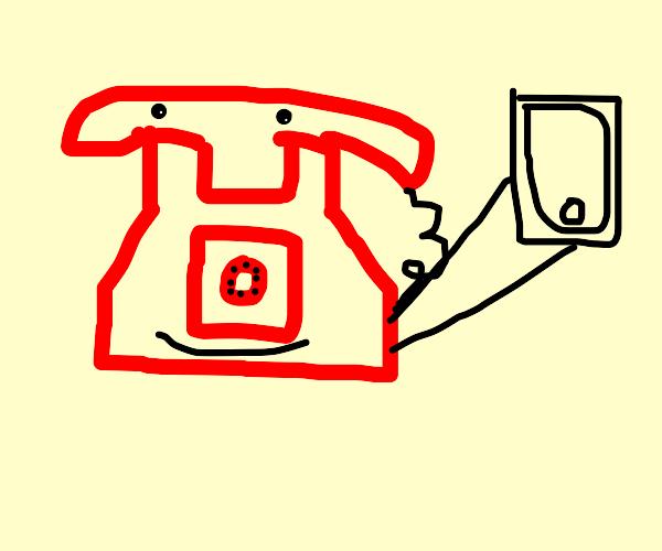 A Telephone taking a selfie