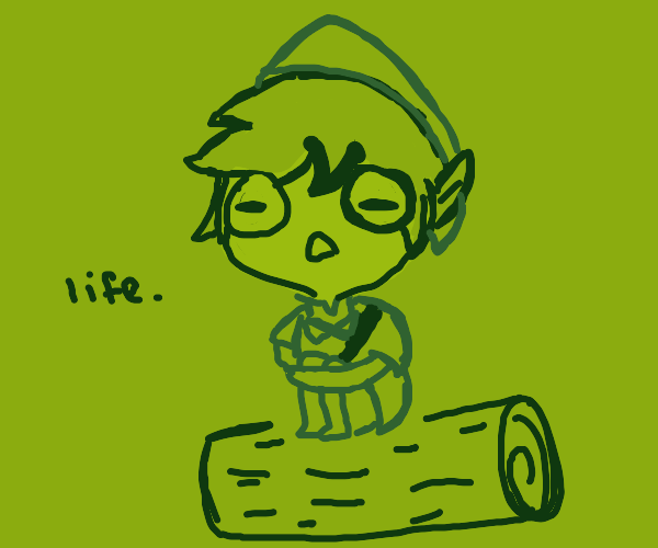Link sitting on a log thinking about life