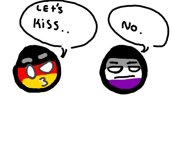 German flag: Lets kiss. Asexual flag: No.
