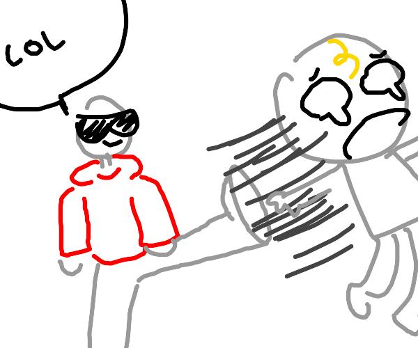 man in red hoodie kicks baby