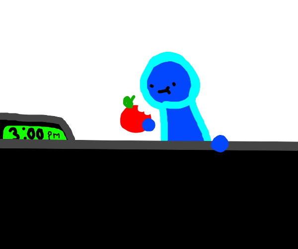 blue guy eating an apple at 3PM