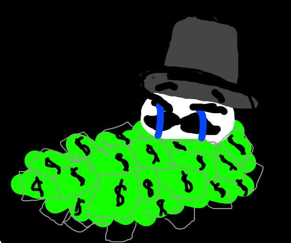 Sad dude in his piles of money