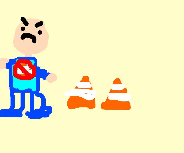 Annoyed at traffic cones