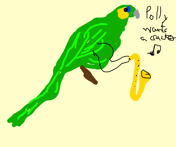 Strong parrot singing Nirvana & holding a sax