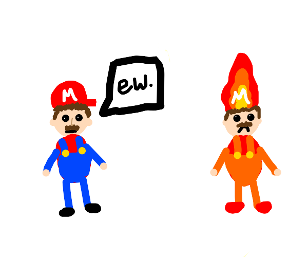 Regular mario is disgusted by fire mario.