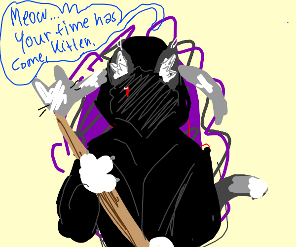 catboy grim reaper emerges from hell portal