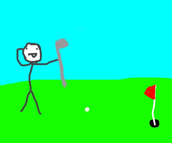 Idiot playing golf