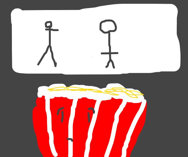 popcorn not feeling comfortable in cinema