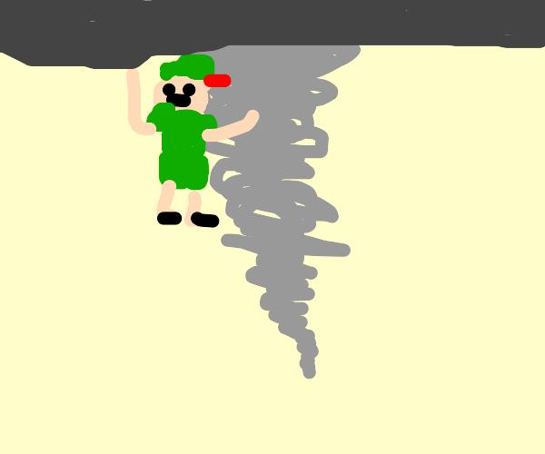 Peter Pan in a tornado