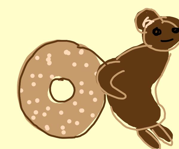 Bear pushing Bagel