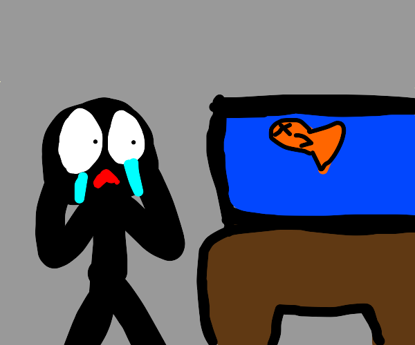 Shadow creature crying over his dead goldfish