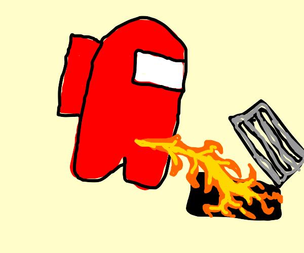dude pisses fire into vent?