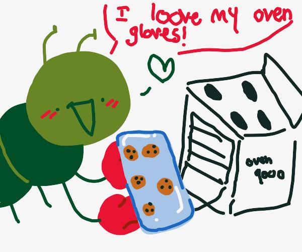 little caterpillar that loves oven gloves