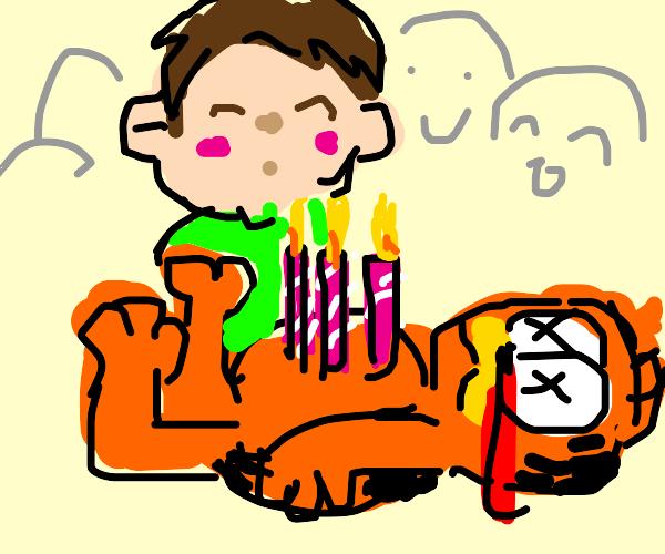 Birthday boy feasting on Garfield's corpse