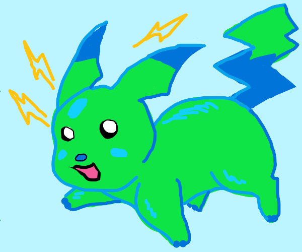 Pikachu but he's green and blue