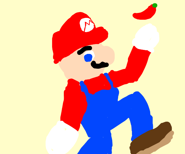mario throwing up a chilli pepper