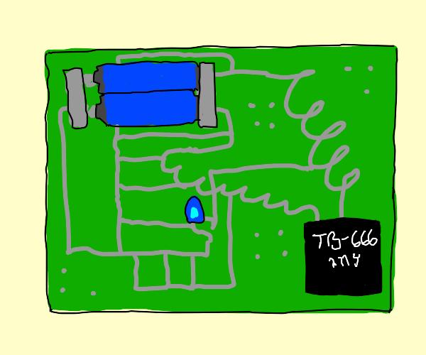 Sketchy looking circuit board.