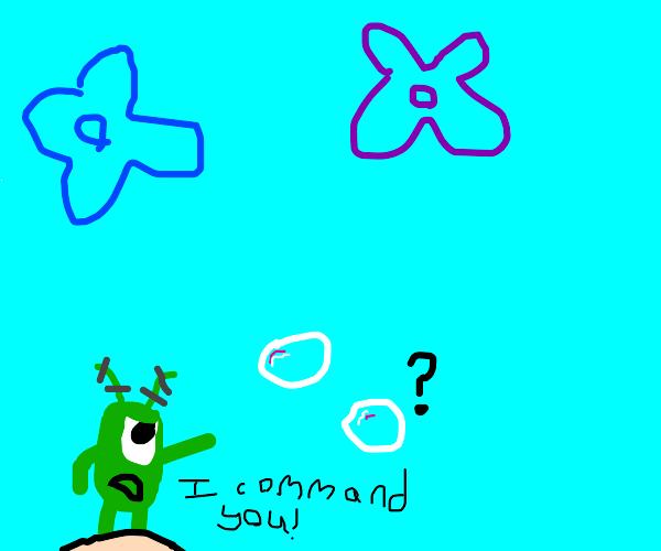 Plankton commands the bubbles.