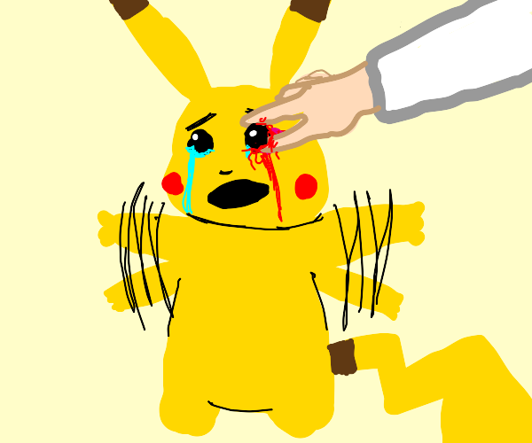 Pulling out Pikachu's right eyeball