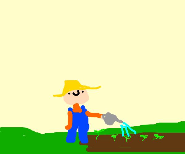 watering plants on a farm