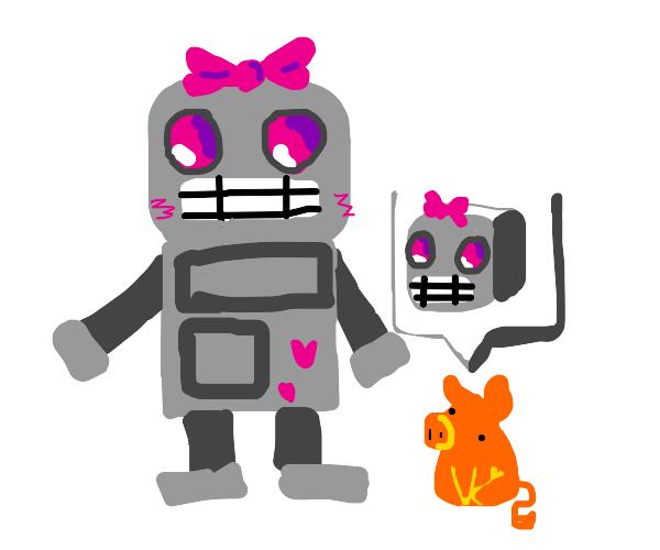 anime robot and pig