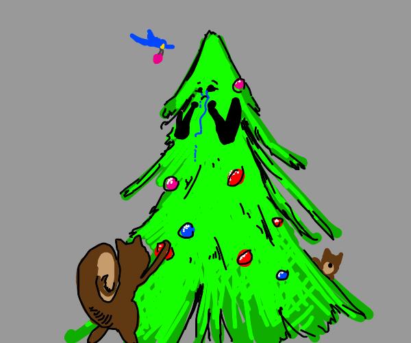 Woodland creatures decorating sad xmas tree