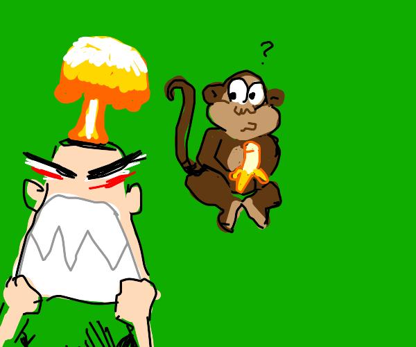 Angry man looks at monkey eating banbanas