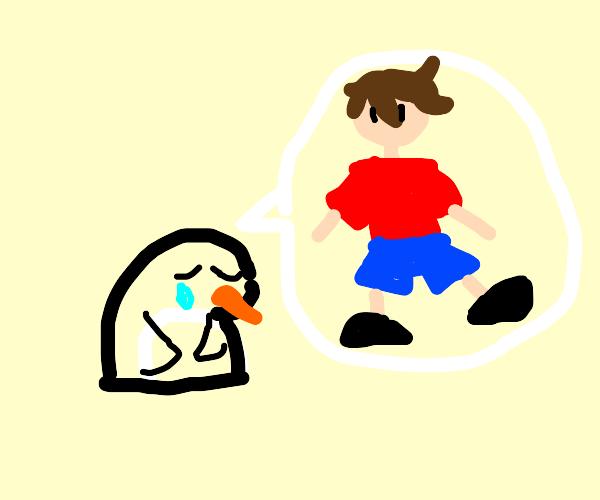 penguin sad about a dude
