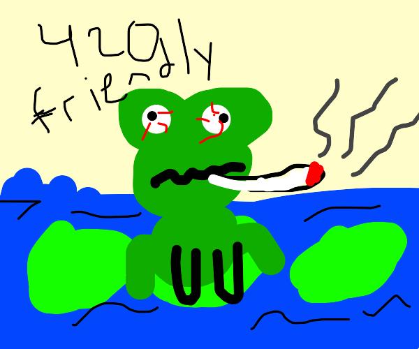 Frog gets high on that good kush