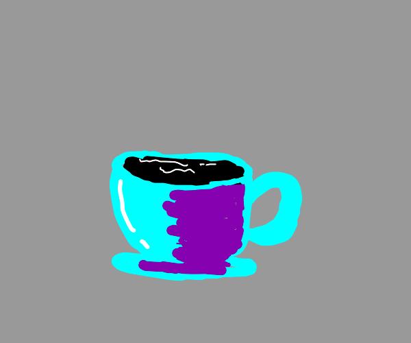 tar inside of a tea cup