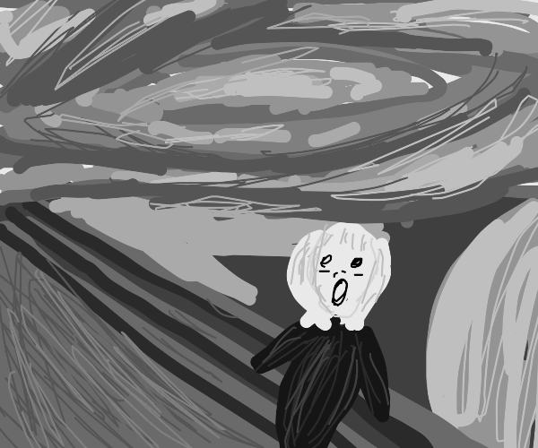 Detailed Monochrome Painting of the Scream