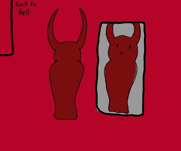 devil looks at a mirror