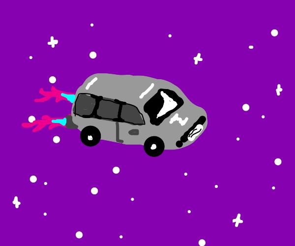 Car driving through space