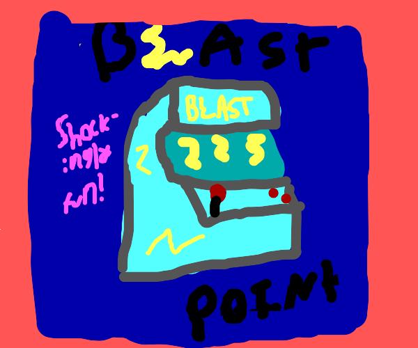 "poster for arcade machine called ""Blast Point"
