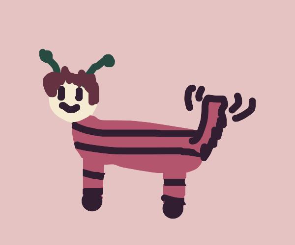 Man zebro deer dog alien hybrid.