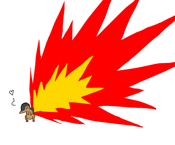 Cyndaquil with a tail 90 times body length